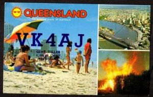 QSL QSO RADIO CARD Queensland,Sunshine State of Australia,Gene Tiller, (Q4054)