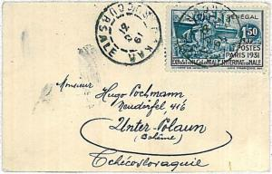 BOATS \ PAQUEBOT -  POSTAL HISTORY COVER : SENEGAL to Czechoslovakia 1931