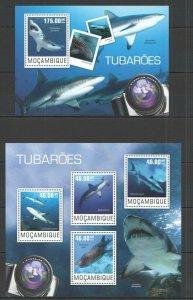 ST2429 2014 MOZAMBIQUE FAUNA FISH & MARINE LIFE SHARKS KB+BL MNH