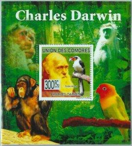 A0406 - COMORES, ERROR, MISPERF, Souvenir sheet: 2009, C. Darwin, Monkeys, Birds