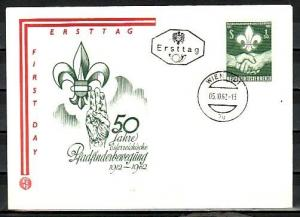 Austria, Scott cat. 684. 50th Anniversary of Scouting issue. First day cover. ^