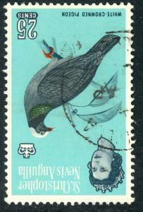 ST. KITTS NEVIS 1963 QE2 25c White Crowned Pigeon INVERTED WMK SG No. 139w VFU