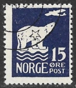 NORWAY 1925 15o POLAR BEAR and Airplane Issue Sc 108 VFU