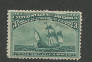 1893 US Stamp #232 3c Mint Never Hinged F/VF Catalogue Value $130