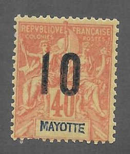 Mayotte Scott #28 Mint 10c surcharged stamp 2017 CV $2.00