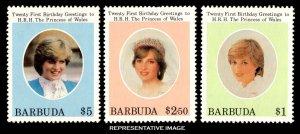 Barbuda Scott 540-542 Mint never hinged.