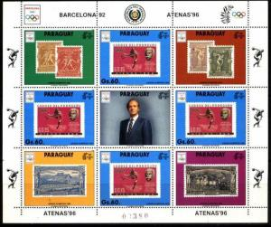 PARAGUAY 1990 ,SPORT,OLYMPIC GAMES,STAMP ON STAMP ,MINISHEET  MI 4449,MNH