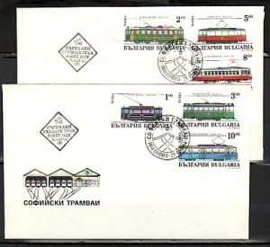 Bulgaria, Scott cat. 3852-3857. Trolleys & Trams issue. 2 First day covers.