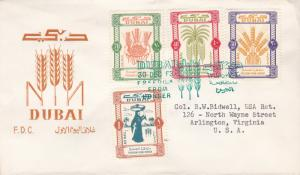Dubai 1963 Scott C16-C19 (4) Food Agricultural Org Freedom From Hunger FDC