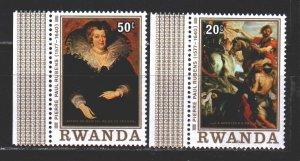 Rwanda. 1977. 883-85 from the series. Rubens, painting, horse. MNH.