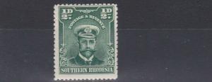 SOUTHERN RHODESIA  1924  S G 1  1/2D  BLUE GREEN MH