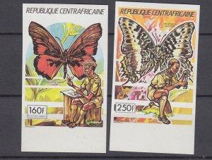 J28878, 1990 central africa part of set mnh imperf #958-9 butterflies