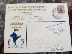 1929 Joan Page Pilot Steven Smith Signed India Airmail Cover to Calcutta