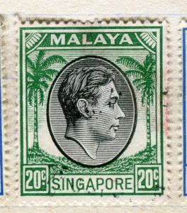 SINGAPORE;  1948 early GVI issue Perf 17/18.  fine used  20c. value