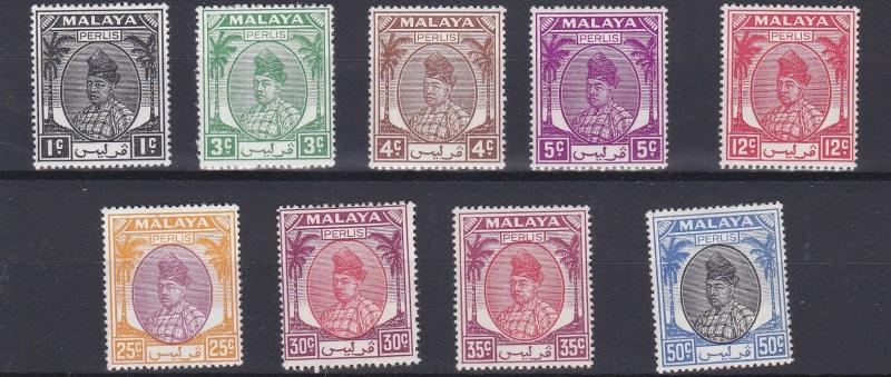 PERLIS  1951  S G 7 - 24  VARIOUS VALUES TO 50C  MH