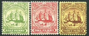 TURKS ISLANDS-1905-08 Set of 3 Values Sg 110-112 LIGHTLY MOUNTED MINT V26115
