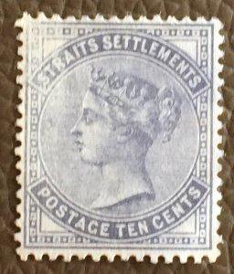 MALAYA 1882 Straits Settlements QV 10c Slate CC MNG SG#49 M2678