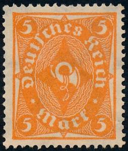 Germany 1921 5m Orange Posthorn SG208 MNG