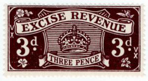 (I.B) Excise Revenue : 3d Dark Lilac (1950)