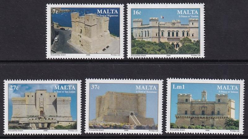 Malta   #1260-1264  MNH  2006  Malta  castles and towers
