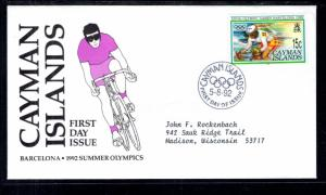 Cayman Islands 653 Olympics Typed FDC