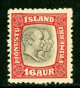 Iceland 1907 Two Kings Official 16a Carmine & Gray Perf 13 Scott # O36 Mint D585