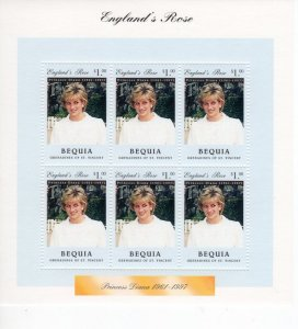 Bequia 1997 PRINCESS DIANA Sheet Perforated Mint (NH)