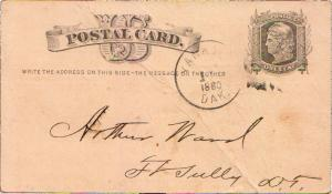 United States South Dakota Yankton, Dak. 1880 cork killer  Postal Card.