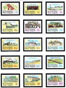 St Kitts-Nevis 355-69 MNH 1978 Definitive Set