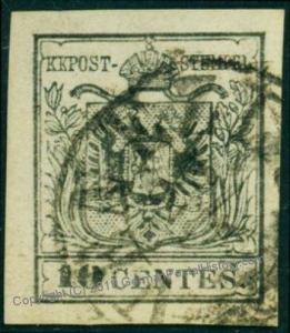 Austria 1850 Issue Lombardia Venetia 2ya TIII 10 Centes Black Venice Cance 74882