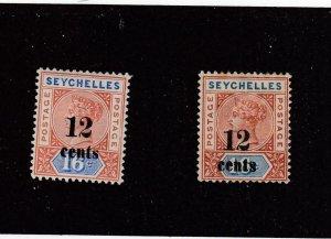 SEYCHELLES (MK4355) # 23 VF-MH 12 on 10c  QV /ULTRA & ORG-BROWN/2 STAMPS CAT $40