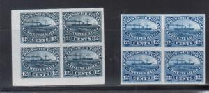 New Brunswick #10P Extra Fine Proof Blocks In Dark Blue & Blue On India Paper
