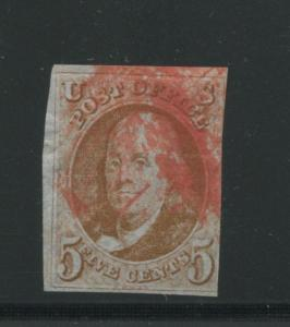 1847 US Stamp #1 5c Used F/VF Orange Red Cancel Imperf Catalogue Value $450