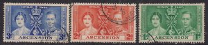 Ascension Island 1937 KGV1 Set Coronation used SG 35 – 37 ( F461 )