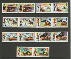 Barbuda opts on Antigua 1974 UPU, set UM/MNH SG 148/61