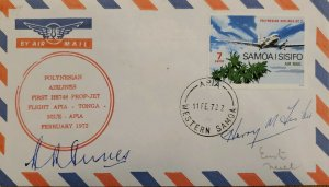J) 1972 SAMOA, AIRPLANE, AIRMAIL, CIRCULATED COVER, FROM SAMOA XF