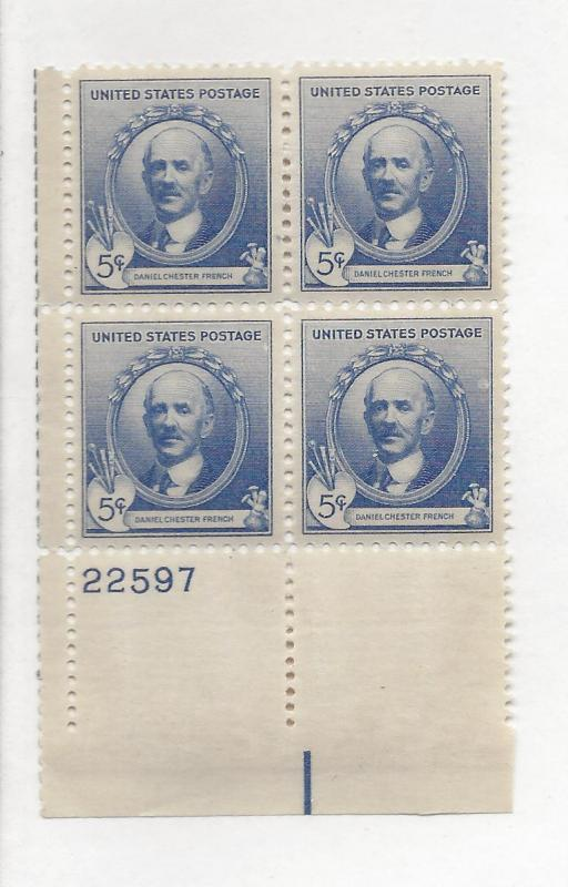 United States, 887, Daniel C. French Plate Block(4), MNH