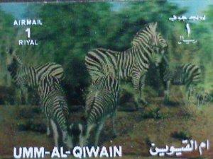 UMM AL QIWAIN STAMP-COLORFUL 3D STAMP-ZEBRAS- MINT STAMP- VERY FINE