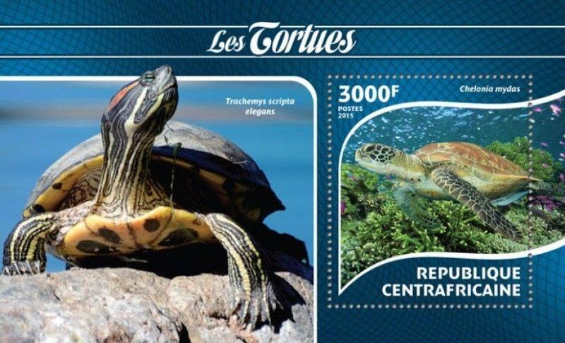 Central Africa - 2015 Turtles on Stamps - Souvenir Sheet - 3H-890