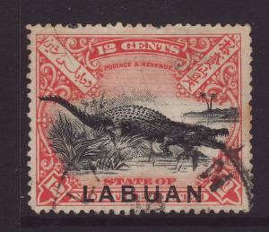 1897 Labuan Opt On Nort Borneo 12c Postally Used
