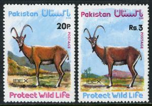 Pakistan 410-411, MNH. Wildlife protection. Ibex, 1976