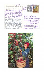 Costa Rica Franked Sc# RA59 C556 Airmail to US Coffee Bean 1970s Postcard