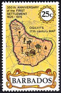 Barbados # 430 mnh ~ 25c Ogilvy's 17th Century Map