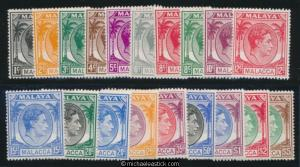 1949-52 Malaya Malacca Set of 20 Definitives SG3-17 MLH