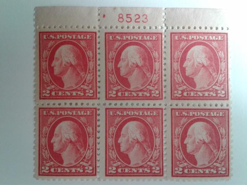 SCOTT # 499 PLATE BLOCK OF 6 #8523 INCREDIBLE MINT NEVER HINGED GEM !!  1917 !!!