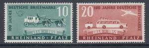 Germany, Rhine-Palatinate Sc 6N39-6N40 MNH. 1949 Post Centenary, complete, VF