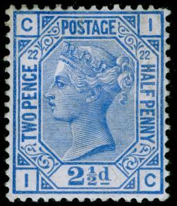 SG157, 2½d blue plate 22, M MINT. Cat £450. IC