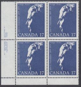 Canada - #859 John Diefenbaker Plate Block -MNH