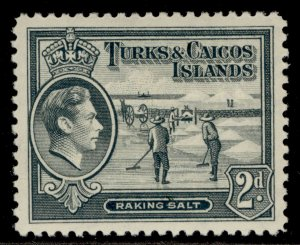TURKS & CAICOS ISLANDS GVI SG198, 2d grey, M MINT.