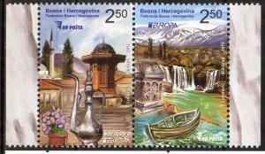 Bosnia 2012 Europa CEPT Visit Architecture Landscapes Pair MNH